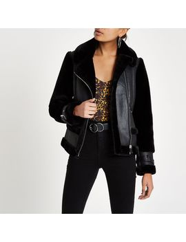 Black Faux Fur Aviator Jacket by River Island
