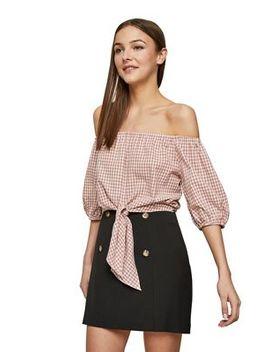 Miss Selfridge   Black Button Mini Skirt by Miss Selfridge