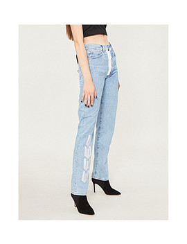 Logo Embroidered High Rise Straight Leg Jeans by Off White C/O Virgil Abloh