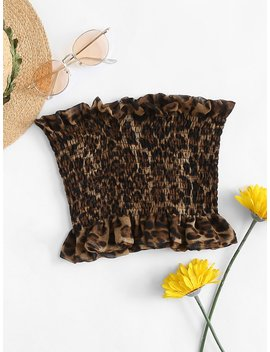 Leopard Print Pleated Tube Top by Romwe