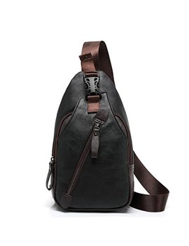 Trader Plus Men's Shoulder Backpack Leather Cross Body Chest Bag Travel Rucksack Sling Retro Bag by Traderplus