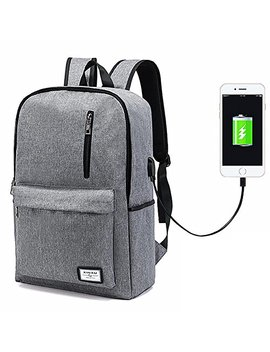 Laptop Backpack,Business Computer Backpack Men Women Lightweight Slim Travel College School Backpack Bags Usb Charging Port Fits 15 Inch Notebook (Grey) by Aviling