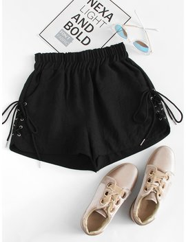 Plus Lace Up Side Shorts by Romwe