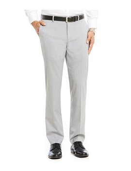 Wardrobe Essentials Alex Modern Slim Fit Flat Front Stretch Waistband Dress Pants by Generic