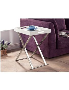 Lyke Home White Chrome Tray Table by Generic