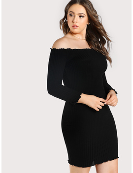 Plus Rib Knit Off Shoulder Dress by Romwe