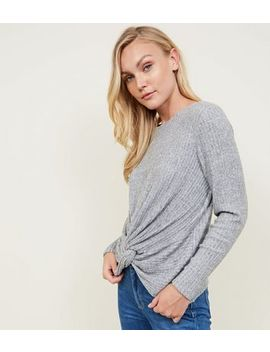 Grey Brushed Rib Twist Front Top by New Look