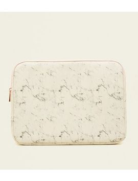 White Marble Effect Laptop Case by New Look