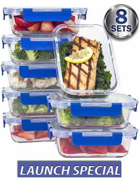[8 Sets Value Pack] Glass Meal Prep Containers – Glass Food Storage Containers With Lids Meal Prep – Lifetime Lids   Lunch Containers Portion Control Containers  Bpa Free Containers(710 Ml / 3 Cups) by Amazon
