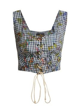 Floral Print Gingham Cropped Top by Vivienne Westwood Anglomania