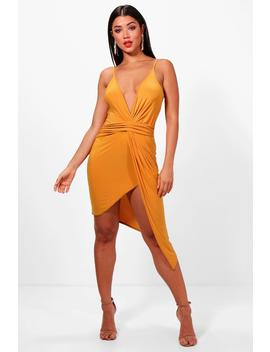 Strappy Plunge Drape Bodycon Dress by Boohoo