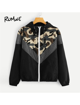 Romwe Mesh Panel Camo Print Hooded Jackets Zip Up Drawstring Jacket Women Spring Autumn Casual Clothing Female Sporting Coats by Romwe