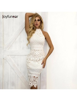 Joyfunear Summer Dress 2018 Women Hollow Out Sleeveless Sexy Bodycon Dress Elegant Skinny Floral Pattern Lace Dresses Vestido by Joyfunear