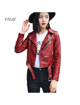 Ftlzz Pu Leather Jacket Women Fashion Bright Colors Black Motorcycle Coat Short Faux Leather Biker Jacket Soft Jacket Female by Ftlzz