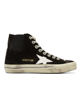 Black Suede V Star 1 High Top Sneakers by Golden Goose