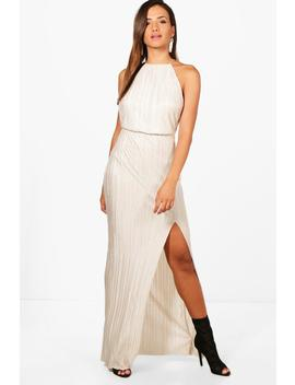 Pletaed Thigh Split Maxi Dress by Boohoo