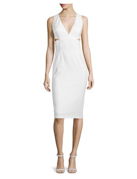 Riki Cutout Leather Midi Dress, White by Alice + Olivia