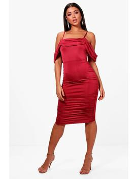 Off The Shoulder Ruched Midi Dress by Boohoo
