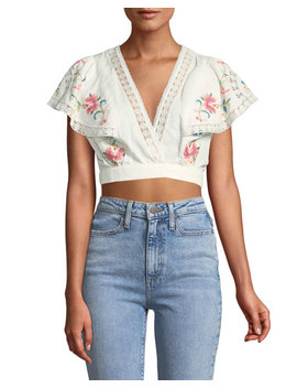 Laelia Cross Stitch Floral Crop Top by Zimmermann