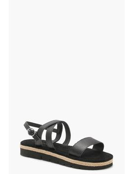 Espadrille Cleated Leather Sandals by Boohoo