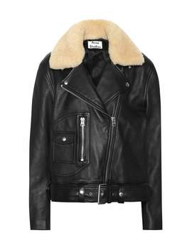 Shearling Trimmed Leather Jacket by Acne Studios