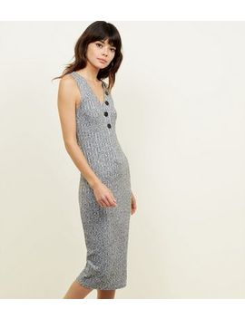 Grey Marl Button Front Jersey Midi Dress by New Look