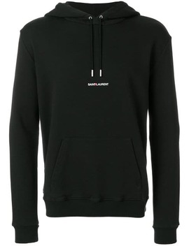 Saint Laurentsignature Cropped Hoodiehome Men Saint Laurent Clothing Hoodiesbuckle Beltridged Sole Derby Shoes Signature Cropped Hoodie by Saint Laurent