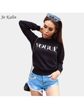 Jo Kalin 2018 New Runway Autumn Winter Women Pullover Hoodies Ladies Letter Printed Vogue Sweatshirt Black White Jumper by Jo Kalin