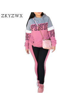 Zkyzwx Pink Letter Print Tracksuit Women Plus Size Sweatsuit Hoodies Tops And Pants Suits Casual 2pcs Outfits Two Piece Set  by Zkyzwx