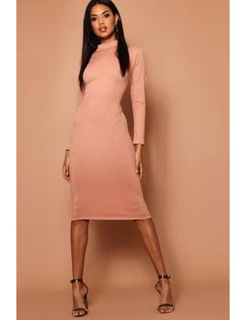 High Neck Jumbo Rib Midi Dress by Boohoo