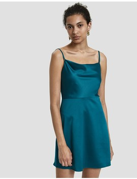 Caspen Cowl Neck Mini Dress In Teal by Stelen