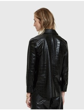 Naum Croc Embossed Vegan Leather Shirt by Nanushka