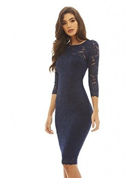 Ax Paris Women's 3/4 Sleeve Lace Bodycon by Ax Paris