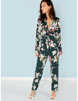 SheinNotch Collar Floral Jumpsuit by Shein