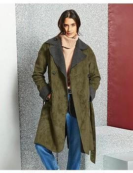 Double Breasted Borg Coat by Simply Be