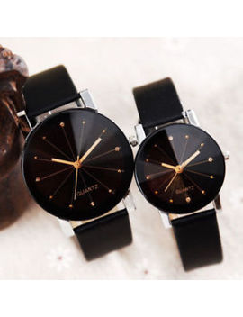 Men Women Leather Strap Line Analog Quartz Ladies Wrist Watches Fashion Watch by Unbranded