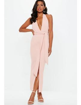 Nude Plunge Tie Waist Midaxi Dress by Missguided