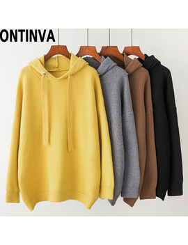 Korean Harajuku Casual Hoodies Yellow Coat Hat Fall Winter Pullover Thick Loose Fleece Hoody Women Femme Solid Color Sweatshirt by Ontinva