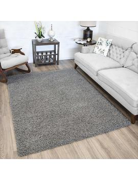 """Ottomanson Soft Cozy Color Solid Shag Area Rug Contemporary Living And Bedroom Soft Shag Area Rug, Grey, 5'3"""" L X 7'0"""" W by Ottomanson"""