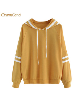 Chamsgend Women Winter Hoodies Causal Style Yellow Color Hooded Pullovers Female Sweatshirts New 2018 Women Cotton Hoodies by Chamsgend