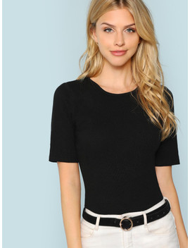 Solid Fitted Rib Knit Tee by Shein