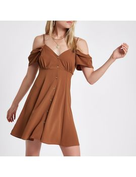 Brown Cold Shoulder Button Down Dress by River Island