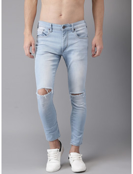 Here&Now Men Blue Skinny Fit Ankle Length Mid Rise Slash Knee Stretchable Jeans by Here&Now