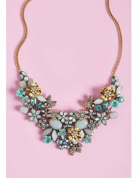 The Flowers That Be Statement Necklace In Mint by Modcloth