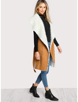 Self Belted Pocket Side Faux Shearling Vest by Shein