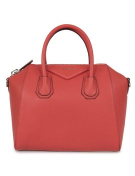 Givenchy Antigona Sugar Goatskin Leather Satchel Bag | Sunset Red With Silver Hardware | Small by Givenchy
