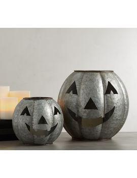 Jack O' Lantern Galvanized Candleholders by Pottery Barn