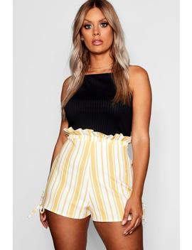 Plus Stripe Ruffle Waisted Tailored Shorts by Boohoo