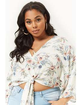 Crop Top In Chiffon In Fiori   Taglie Comode by Forever 21