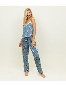Nicola Blue Floral Satin Pyjama Trousers by New Look